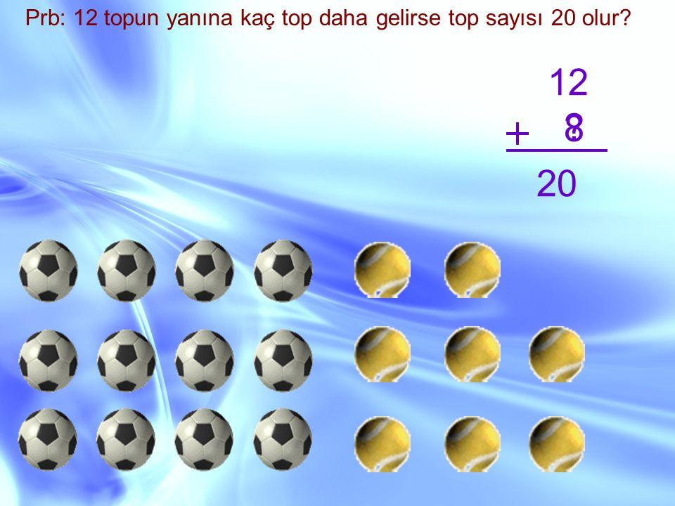 Prb: 12 topun yanına kaç top daha gelirse top sayısı 20 olur? 12 ? 20 8