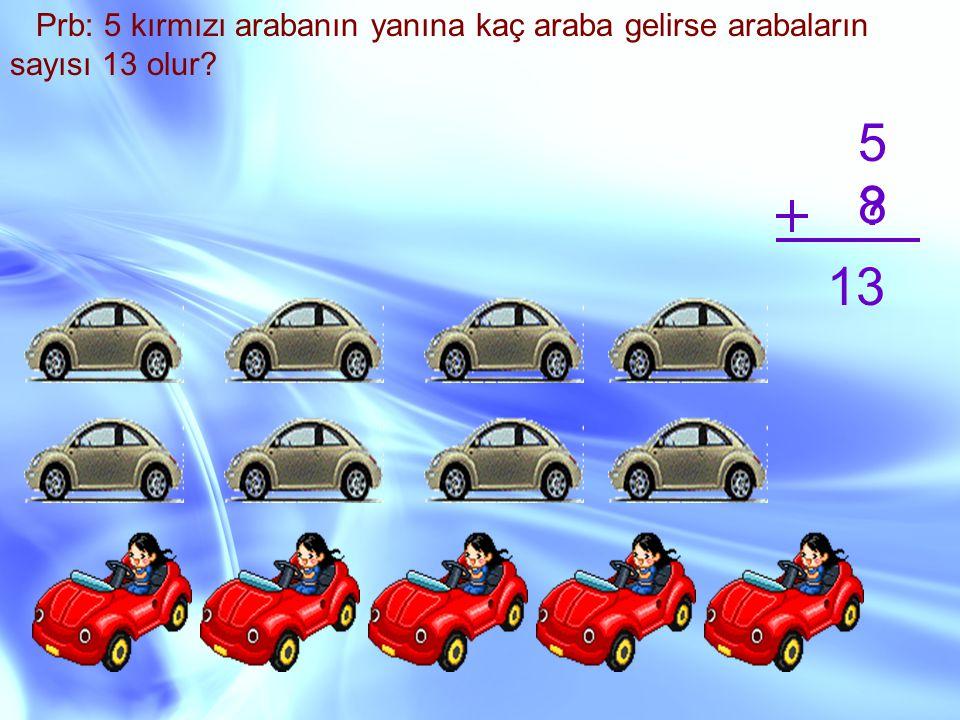 Prb: 5 kırmızı arabanın yanına kaç araba gelirse arabaların sayısı 13 olur? 5 ? 13 8