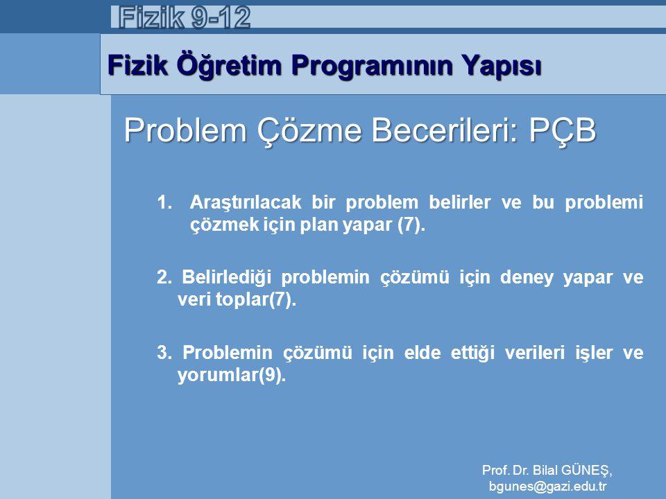 Fizik Öğretim Programının Yapısı Problem Çözme Becerileri: PÇB 1.Araştırılacak bir problem belirler ve bu problemi çözmek için plan yapar (7). 2. Beli