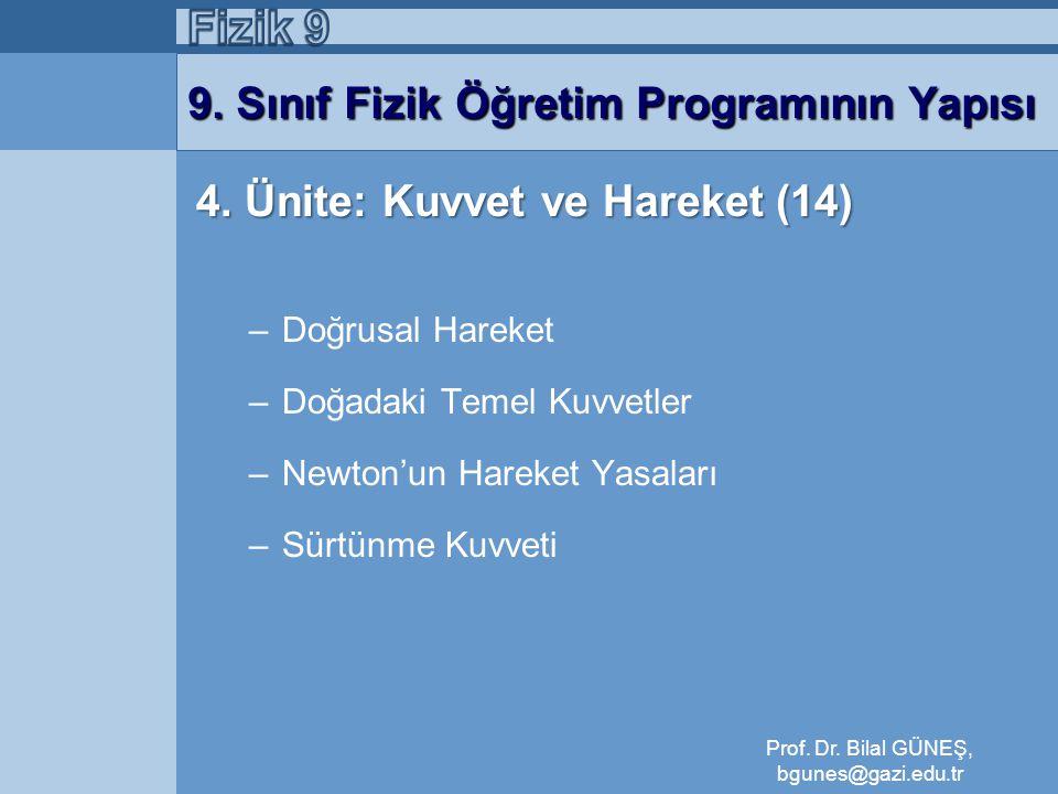 9. Sınıf Fizik Öğretim Programının Yapısı 4. Ünite: Kuvvet ve Hareket (14) –Doğrusal Hareket –Doğadaki Temel Kuvvetler –Newton'un Hareket Yasaları –Sü