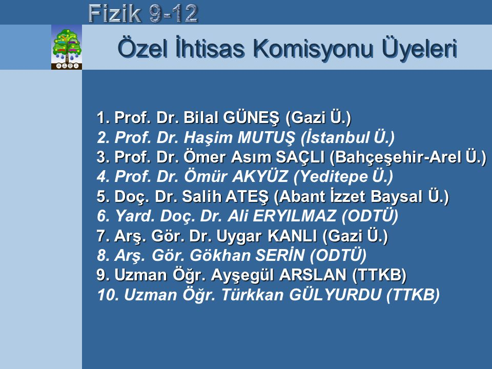 1. Prof. Dr. Bilal GÜNEŞ (Gazi Ü.) 3. Prof. Dr. Ömer Asım SAÇLI (Bahçeşehir-Arel Ü.) 5. Doç. Dr. Salih ATEŞ (Abant İzzet Baysal Ü.) 7. Arş. Gör. Dr. U