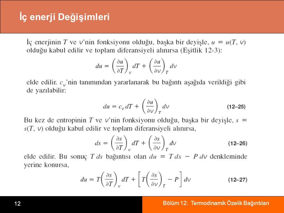 Bölüm 12: Termodinamik Özelik Bağıntıları 12 İç enerji Değişimleri