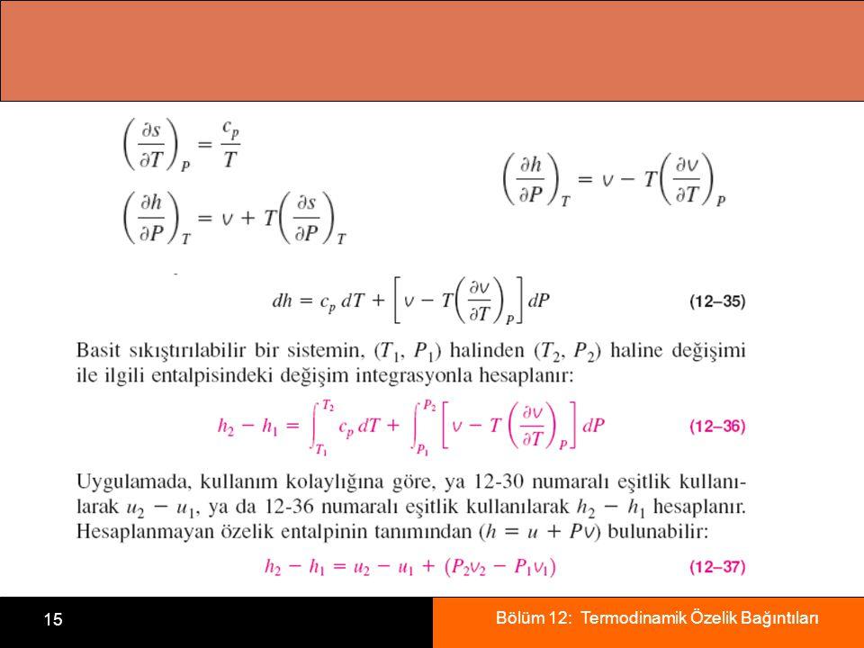Bölüm 12: Termodinamik Özelik Bağıntıları 15
