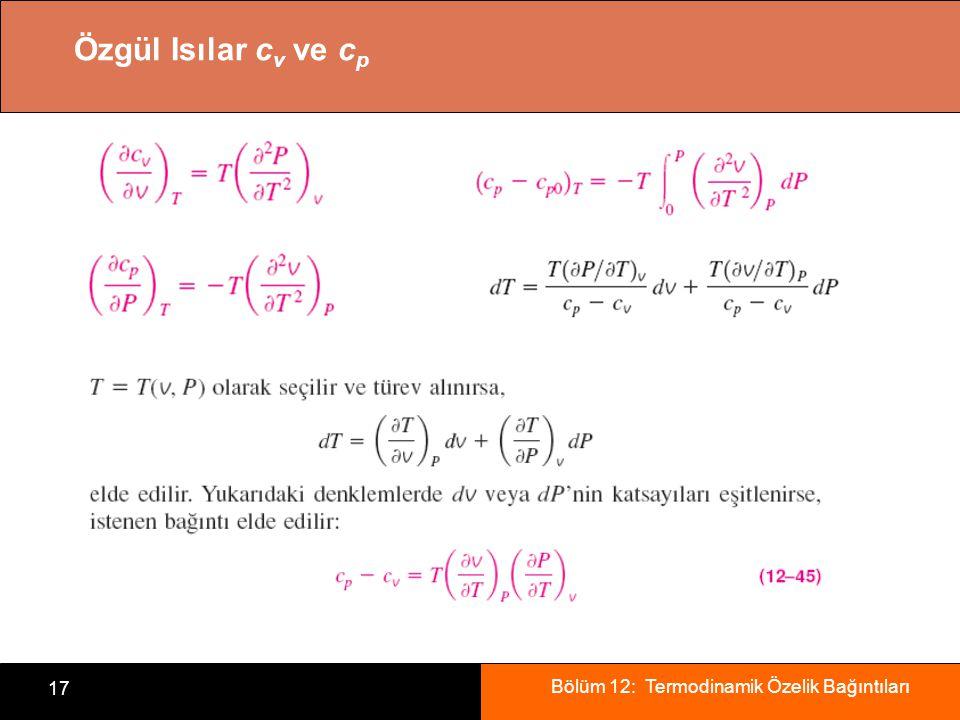 Bölüm 12: Termodinamik Özelik Bağıntıları 17 Özgül Isılar c v ve c p