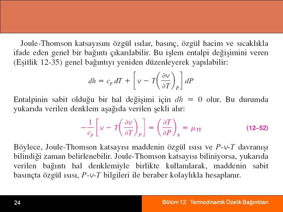 Bölüm 12: Termodinamik Özelik Bağıntıları 24