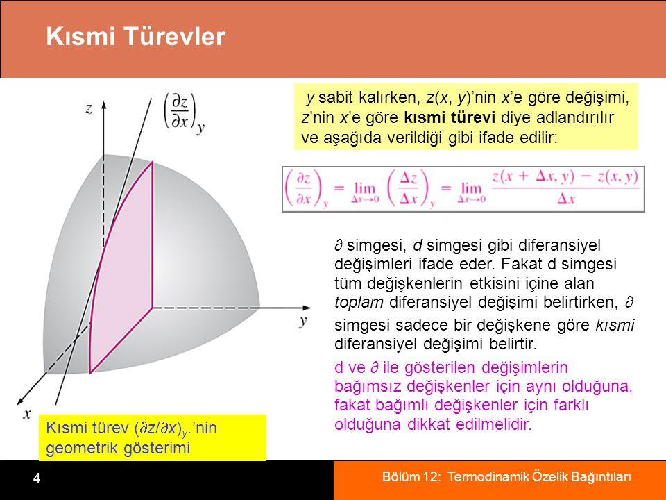 Bölüm 12: Termodinamik Özelik Bağıntıları 4 Kısmi Türevler Kısmi türev (  z/  x) y.'nin geometrik gösterimi y sabit kalırken, z(x, y)'nin x'e göre d