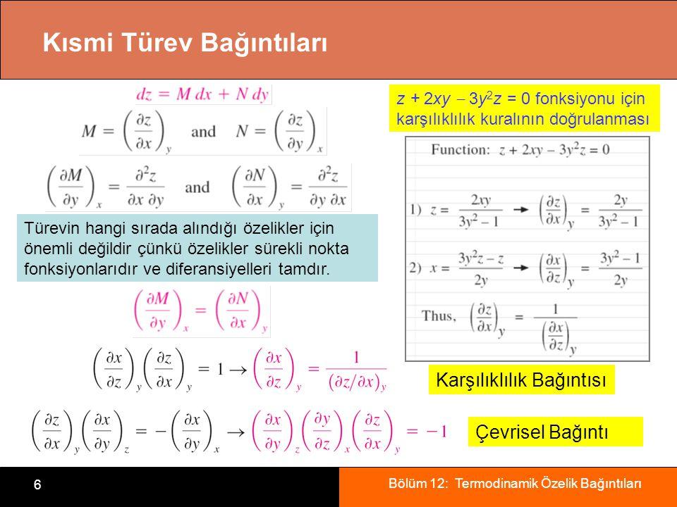 Bölüm 12: Termodinamik Özelik Bağıntıları 6 Kısmi Türev Bağıntıları Türevin hangi sırada alındığı özelikler için önemli değildir çünkü özelikler sürek