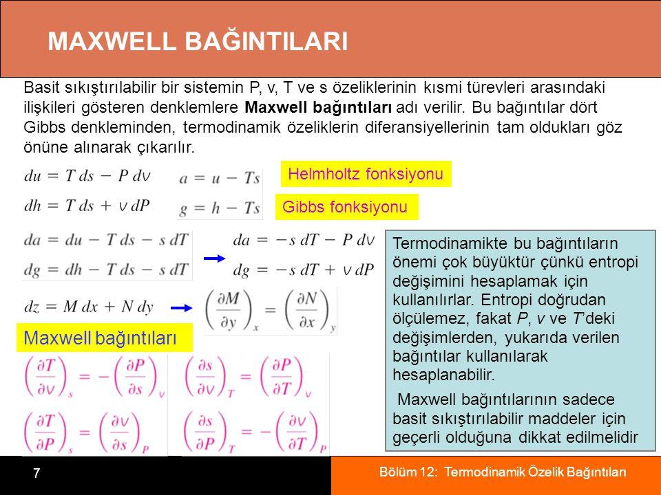 Bölüm 12: Termodinamik Özelik Bağıntıları 7 MAXWELL BAĞINTILARI Basit sıkıştırılabilir bir sistemin P, v, T ve s özeliklerinin kısmi türevleri arasınd