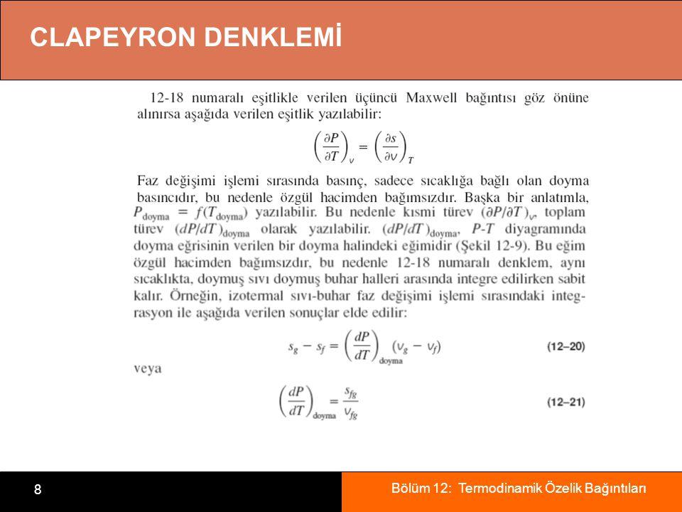 Bölüm 12: Termodinamik Özelik Bağıntıları 8 CLAPEYRON DENKLEMİ