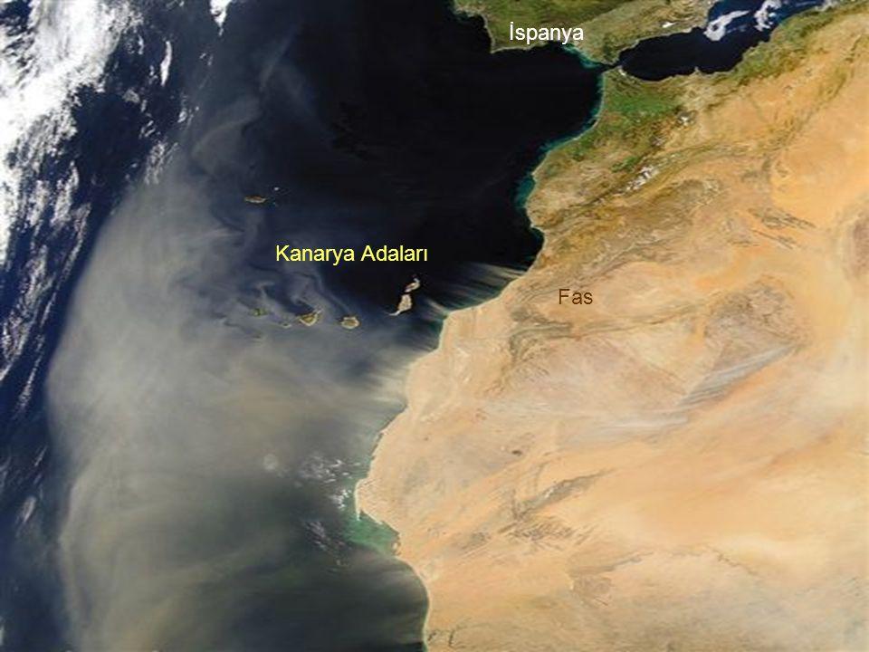 www.birmilyonimza.com Kum fırtınası yaşandığı esnada İber Yarımadası'nın güneyi ile Kuzey Afrika'dan bir görüntü: Kanarya Adaları