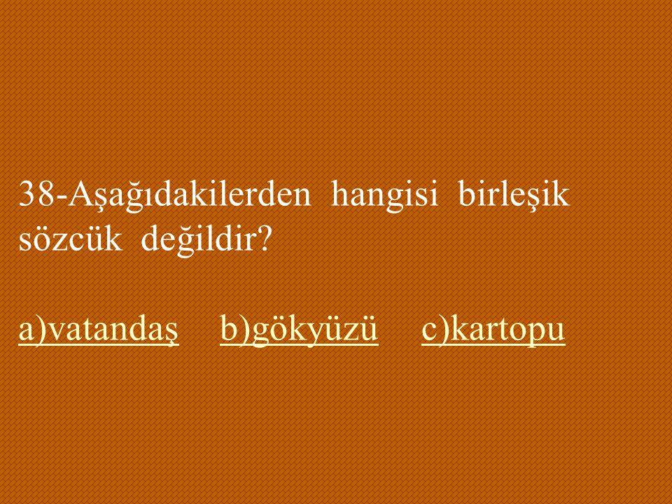 38-Aşağıdakilerden hangisi birleşik sözcük değildir? a)vatandaşb)gökyüzüc)kartopu