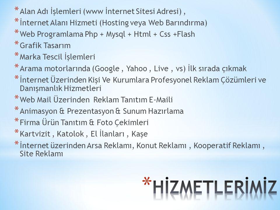 * Alan Adı İşlemleri (www İnternet Sitesi Adresi), * İnternet Alanı Hizmeti (Hosting veya Web Barındırma) * Web Programlama Php + Mysql + Html + Css +