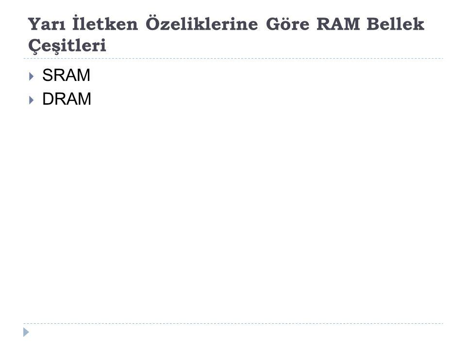 Yarı İletken Özeliklerine Göre RAM Bellek Çeşitleri  SRAM  DRAM