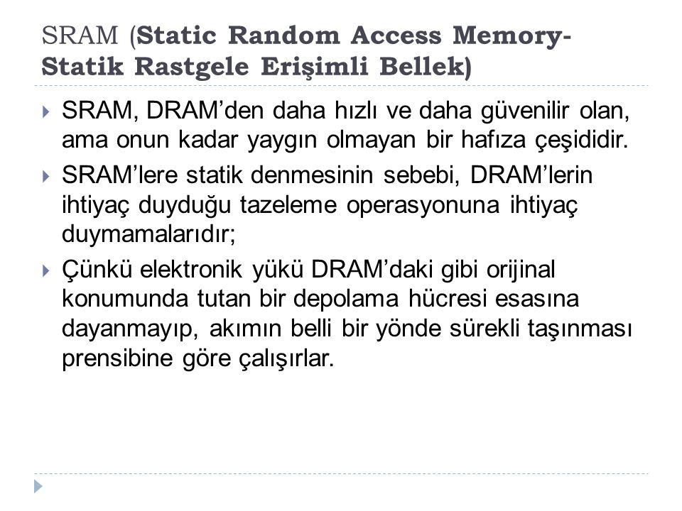 SRAM ( Static Random Access Memory- Statik Rastgele Erişimli Bellek)  SRAM, DRAM'den daha hızlı ve daha güvenilir olan, ama onun kadar yaygın olmayan