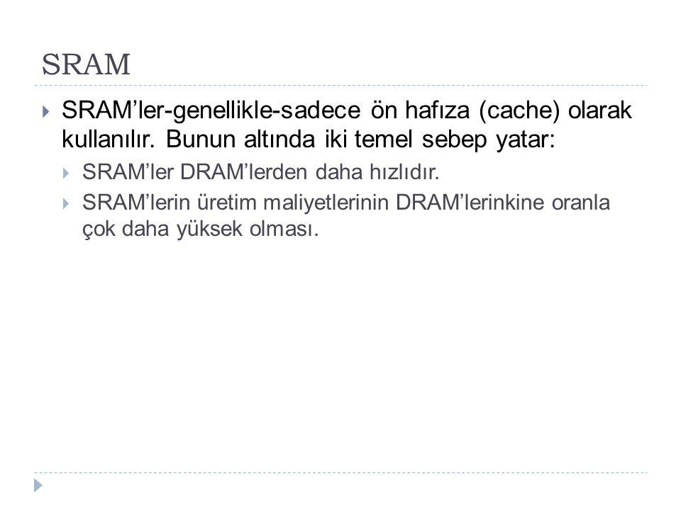 SRAM  SRAM'ler-genellikle-sadece ön hafıza (cache) olarak kullanılır. Bunun altında iki temel sebep yatar:  SRAM'ler DRAM'lerden daha hızlıdır.  SR
