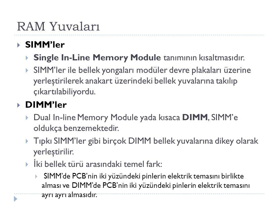 RAM Yuvaları  SIMM'ler  Single In-Line Memory Module tanımının kısaltmasıdır.  SIMM'ler ile bellek yongaları modüler devre plakaları üzerine yerleş