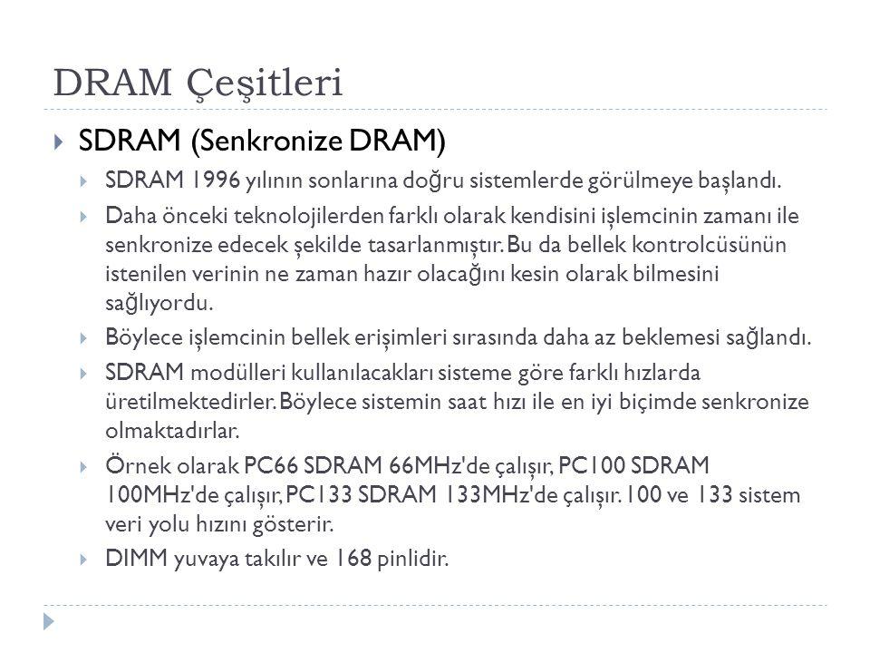DRAM Çeşitleri  SDRAM (Senkronize DRAM)  SDRAM 1996 yılının sonlarına do ğ ru sistemlerde görülmeye başlandı.  Daha önceki teknolojilerden farklı o