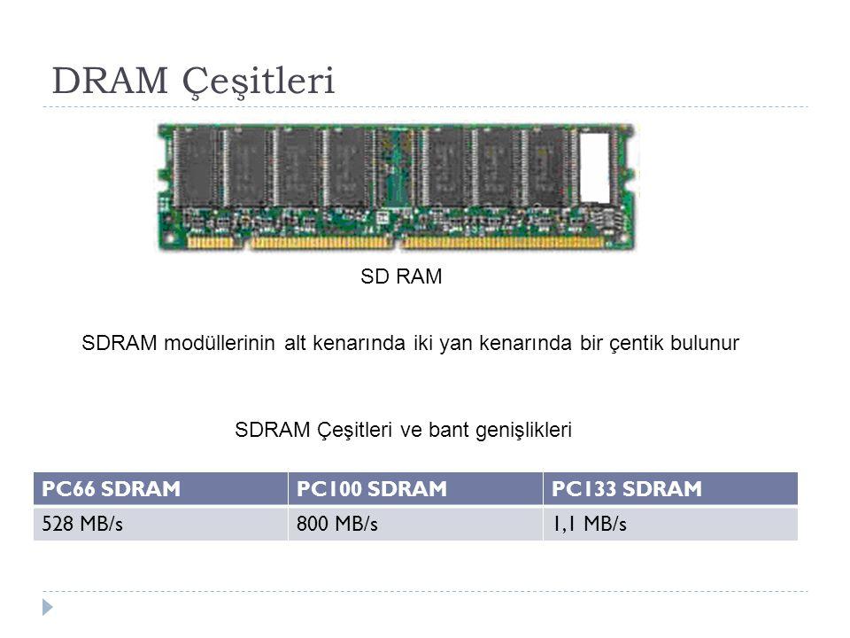 DRAM Çeşitleri PC66 SDRAMPC100 SDRAMPC133 SDRAM 528 MB/s800 MB/s1,1 MB/s SDRAM Çeşitleri ve bant genişlikleri SDRAM modüllerinin alt kenarında iki yan