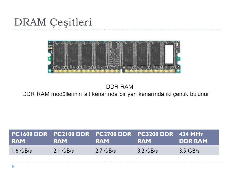 DRAM Çeşitleri DDR RAM DDR RAM modüllerinin alt kenarında bir yan kenarında iki çentik bulunur PC1600 DDR RAM PC2100 DDR RAM PC2700 DDR RAM PC3200 DDR