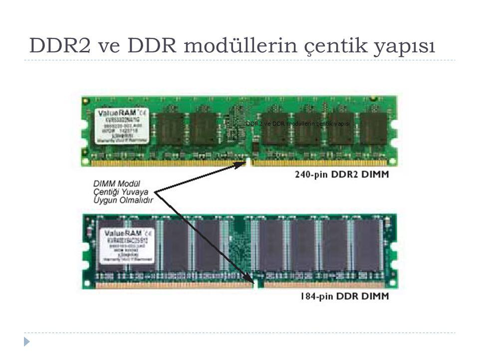 DDR2 ve DDR modüllerin çentik yapısı