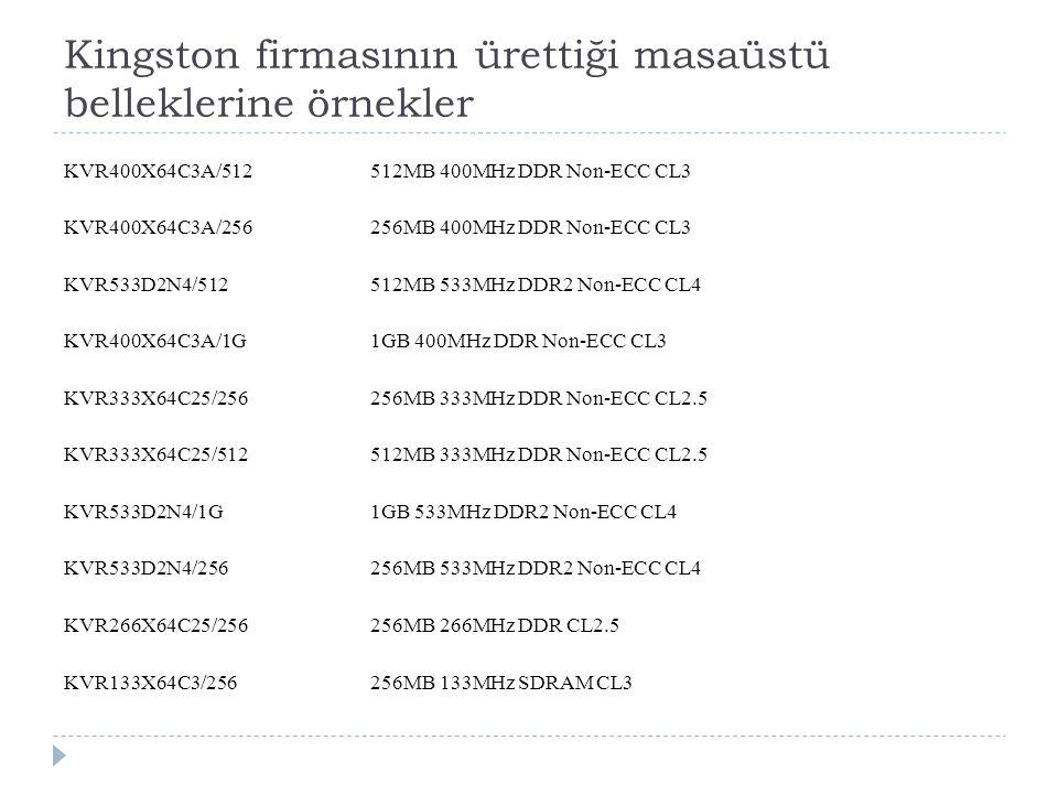 Kingston firmasının ürettiği masaüstü belleklerine örnekler KVR400X64C3A/512512MB 400MHz DDR Non-ECC CL3 KVR400X64C3A/256256MB 400MHz DDR Non-ECC CL3