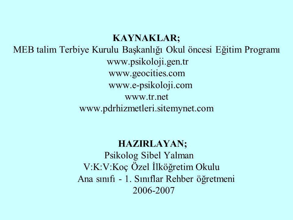 Halil KARAKUŞ KAYNAKLAR; MEB talim Terbiye Kurulu Başkanlığı Okul öncesi Eğitim Programı www.psikoloji.gen.tr www.geocities.com www.e-psikoloji.com ww