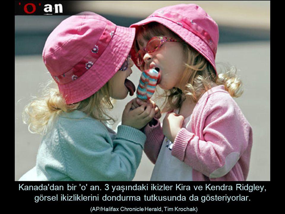 Kanada'dan bir 'o' an. 3 yaşındaki ikizler Kira ve Kendra Ridgley, görsel ikizliklerini dondurma tutkusunda da gösteriyorlar. (AP/Halifax Chronicle He