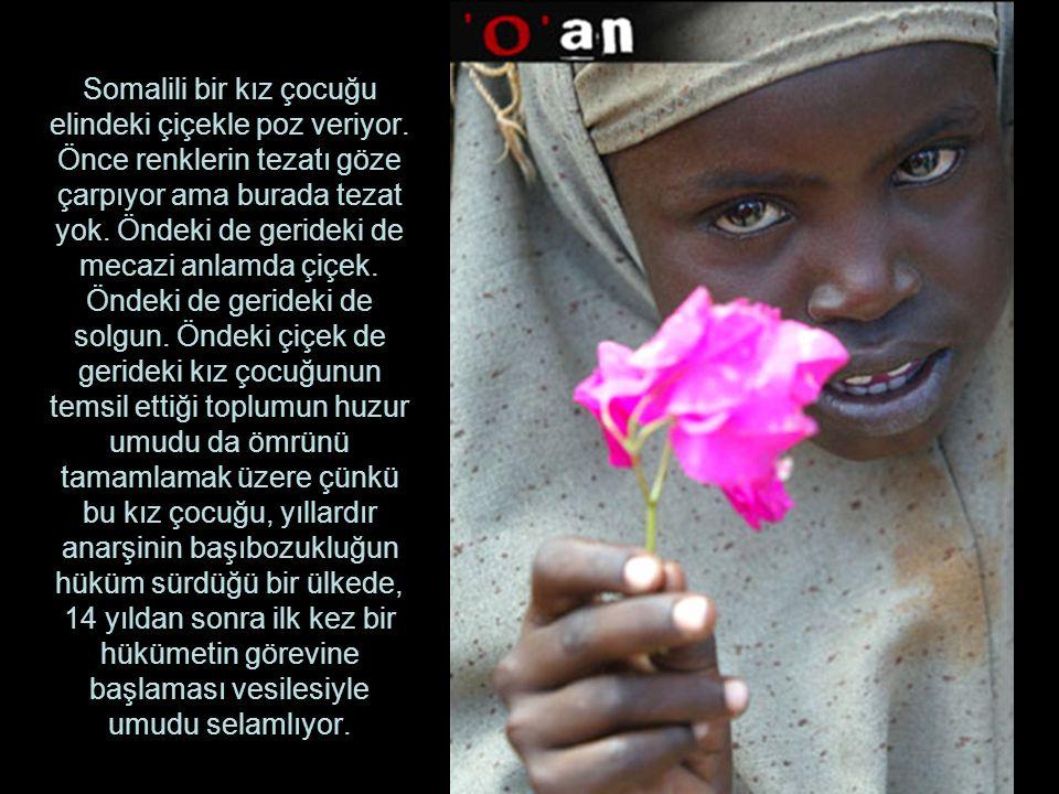 Somalili bir kız çocuğu elindeki çiçekle poz veriyor. Önce renklerin tezatı göze çarpıyor ama burada tezat yok. Öndeki de gerideki de mecazi anlamda ç
