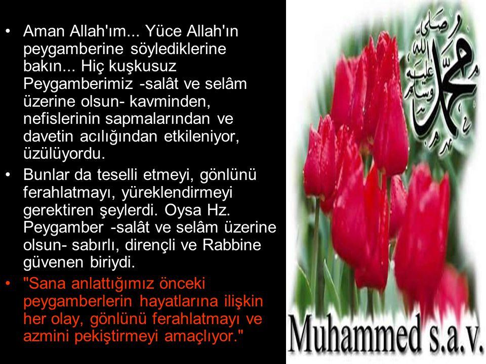 •Aman Allah'ım... Yüce Allah'ın peygamberine söylediklerine bakın... Hiç kuşkusuz Peygamberimiz -salât ve selâm üzerine olsun- kavminden, nefislerinin
