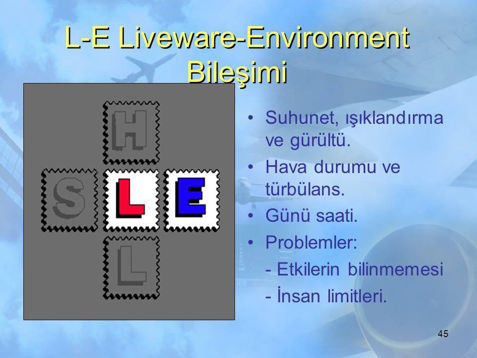44 L-S Liveware-Software Bileşimi •Prosedürler •Yazılı bilgiler •Automation •Problemler: - Bilgisayar alışkanlığı - disiplin - Prosedürlere uyum.