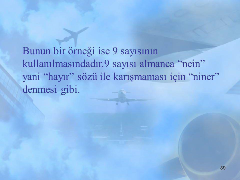88 Standard Phraseologies Standard phraseology havacılık konuşmalarında ortak bir kavram oluşturmak için yaratılmıştır. Her durum için standard phrase
