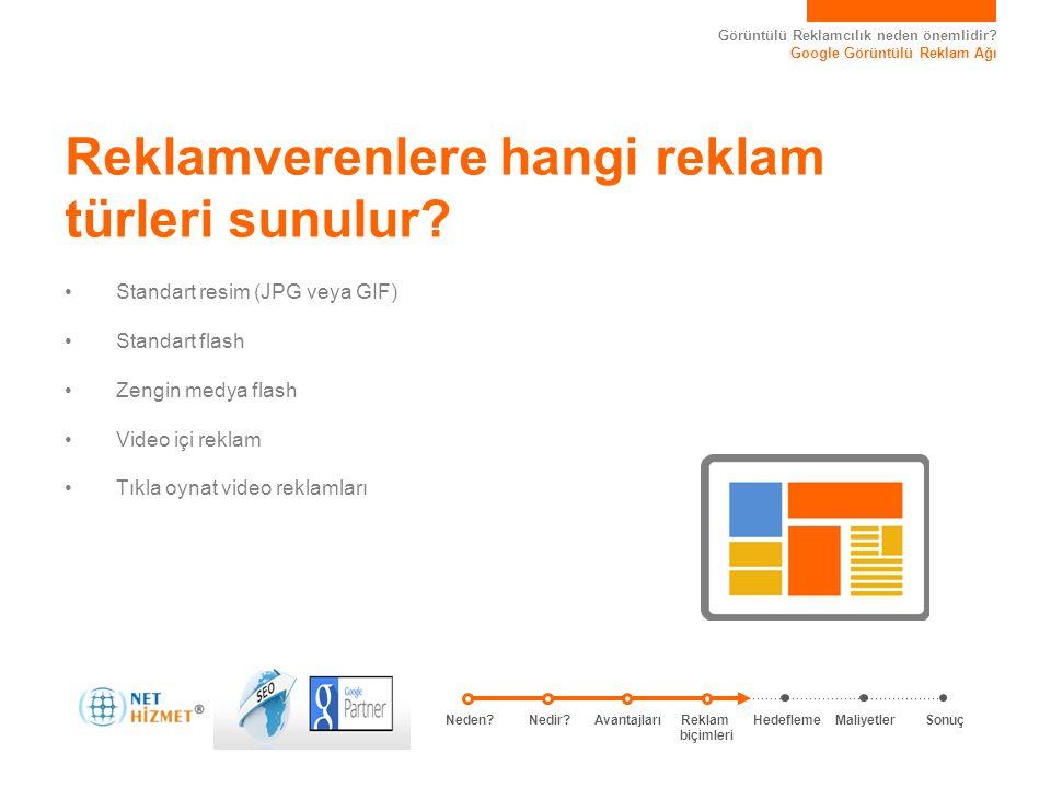 Görüntülü Reklamcılık neden önemlidir? Google Görüntülü Reklam Ağı • Standart resim (JPG veya GIF) • Standart flash • Zengin medya flash • Video içi r