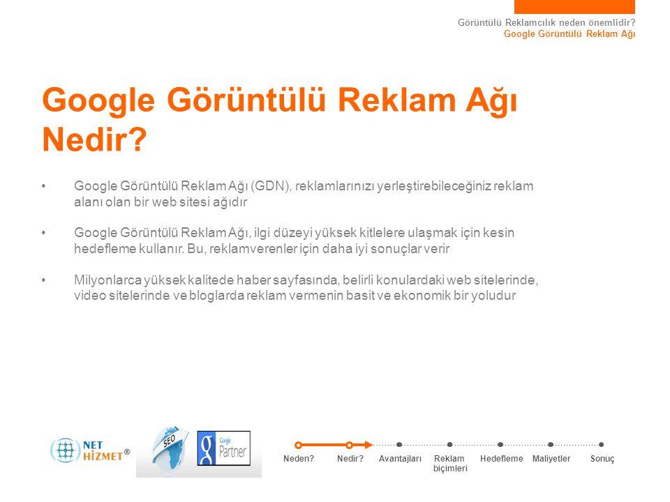 Görüntülü Reklamcılık neden önemlidir? Google Görüntülü Reklam Ağı Google Görüntülü Reklam Ağı Nedir? • Google Görüntülü Reklam Ağı (GDN), reklamların