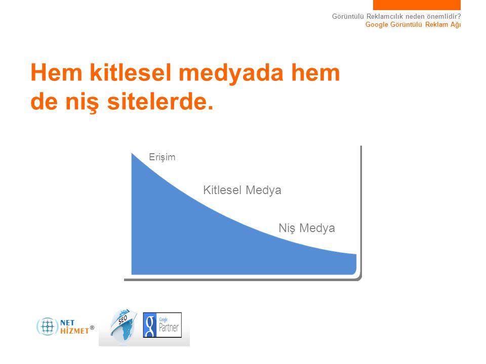 Görüntülü Reklamcılık neden önemlidir? Google Görüntülü Reklam Ağı Hem kitlesel medyada hem de niş sitelerde. Niş Medya Kitlesel Medya Erişim