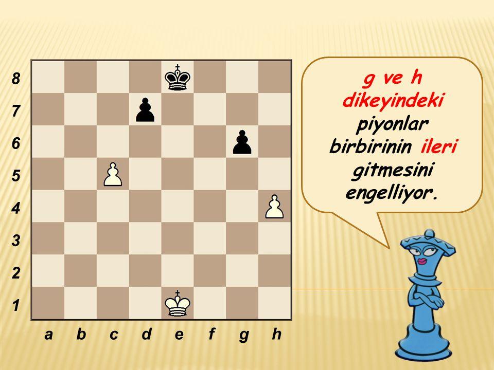 g ve h dikeyindeki piyonlar birbirinin ileri gitmesini engelliyor. abcdefgh 8 7 6 5 4 3 2 1