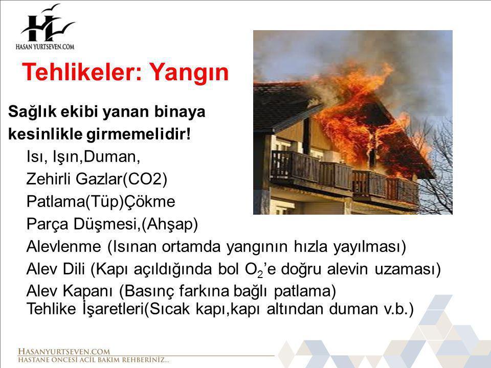 Sağlık ekibi yanan binaya kesinlikle girmemelidir! Isı, Işın,Duman, Zehirli Gazlar(CO2) Patlama(Tüp)Çökme Parça Düşmesi,(Ahşap) Alevlenme (Isınan orta