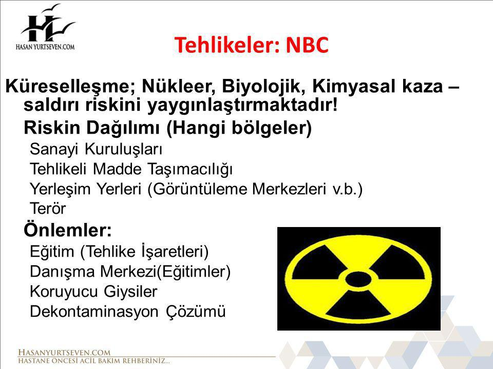 Küreselleşme; Nükleer, Biyolojik, Kimyasal kaza – saldırı riskini yaygınlaştırmaktadır! Riskin Dağılımı (Hangi bölgeler) Sanayi Kuruluşları Tehlikeli