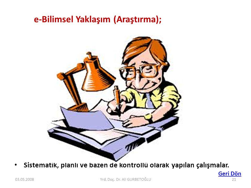 • Sistematik, planlı ve bazen de kontrollü olarak yapılan çalışmalar. e-Bilimsel Yaklaşım (Araştırma); Geri Dön 03.05.200821Yrd. Doç. Dr. Ali GURBETOĞ