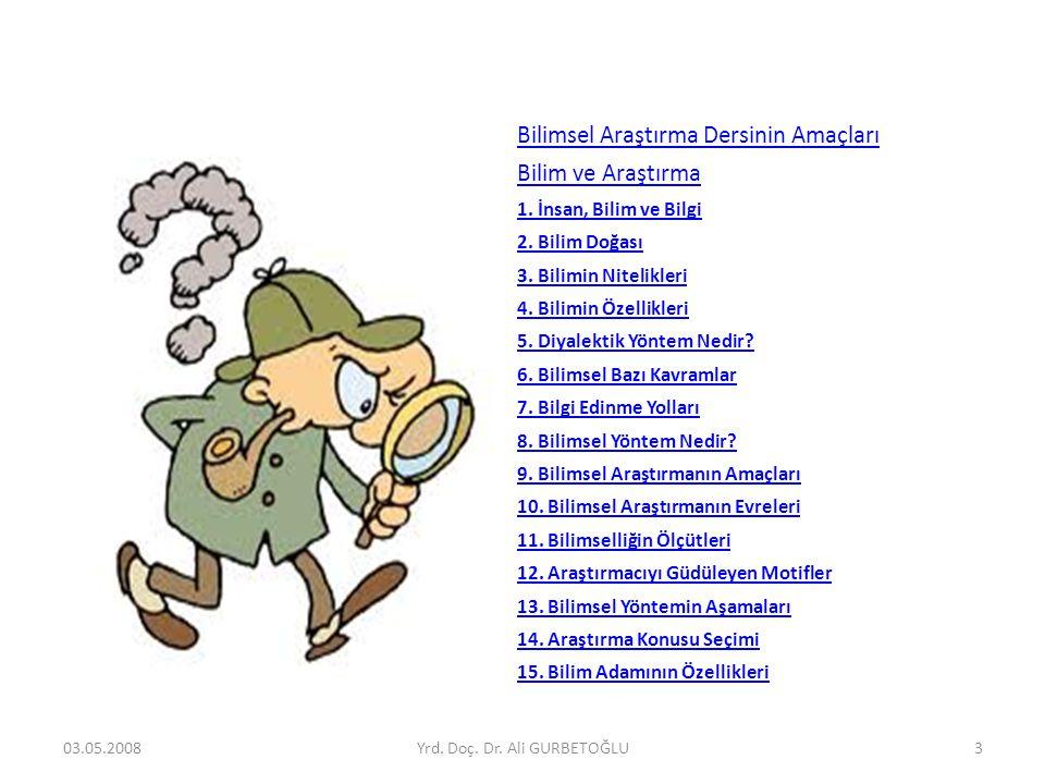 Bilimsel Araştırma Dersinin Amaçları Bilim ve Araştırma 1. İnsan, Bilim ve Bilgi 2. Bilim Doğası 3. Bilimin Nitelikleri 4. Bilimin Özellikleri 5. Diya