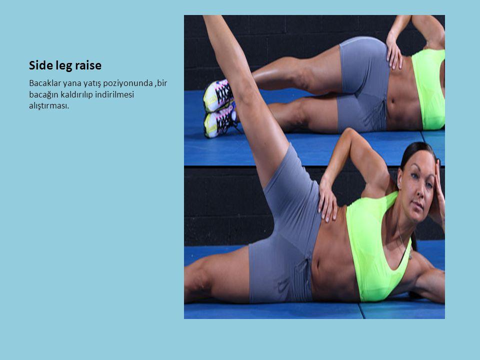 Side leg raise Bacaklar yana yatış poziyonunda,bir bacağın kaldırılıp indirilmesi alıştırması.