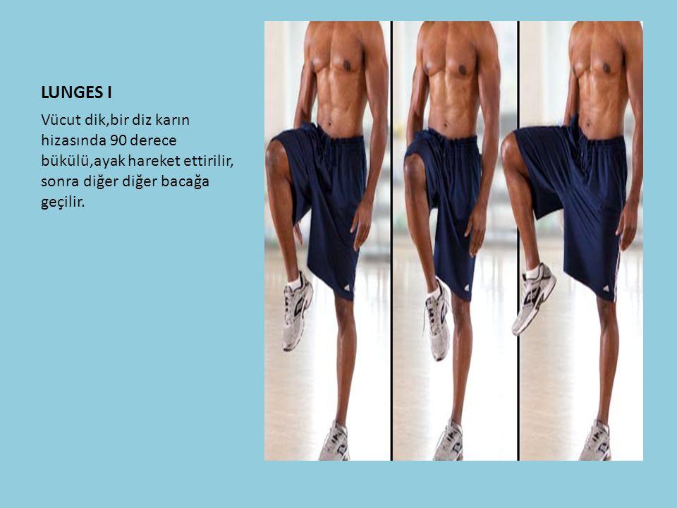 LUNGES I Vücut dik,bir diz karın hizasında 90 derece bükülü,ayak hareket ettirilir, sonra diğer diğer bacağa geçilir.