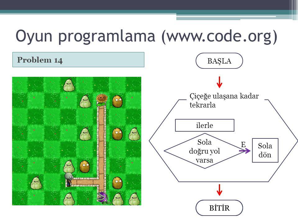 Oyun programlama (www.code.org) Problem 14 BİTİR BAŞLA BİTİR Çiçeğe ulaşana kadar tekrarla ilerle Sola doğru yol varsa Sola dön E