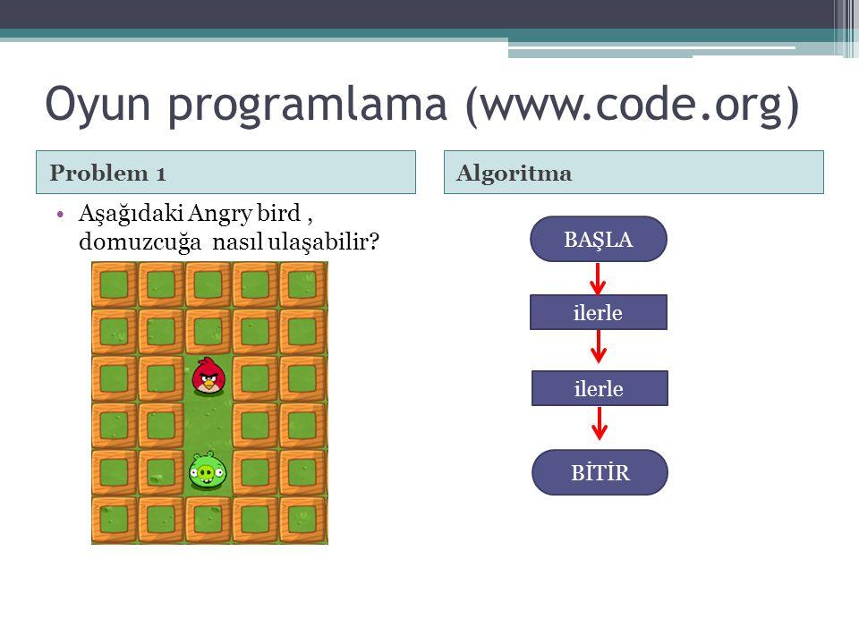 Problem 1Algoritma •Aşağıdaki Angry bird, domuzcuğa nasıl ulaşabilir? BAŞLA ilerle BİTİR ilerle Oyun programlama (www.code.org)