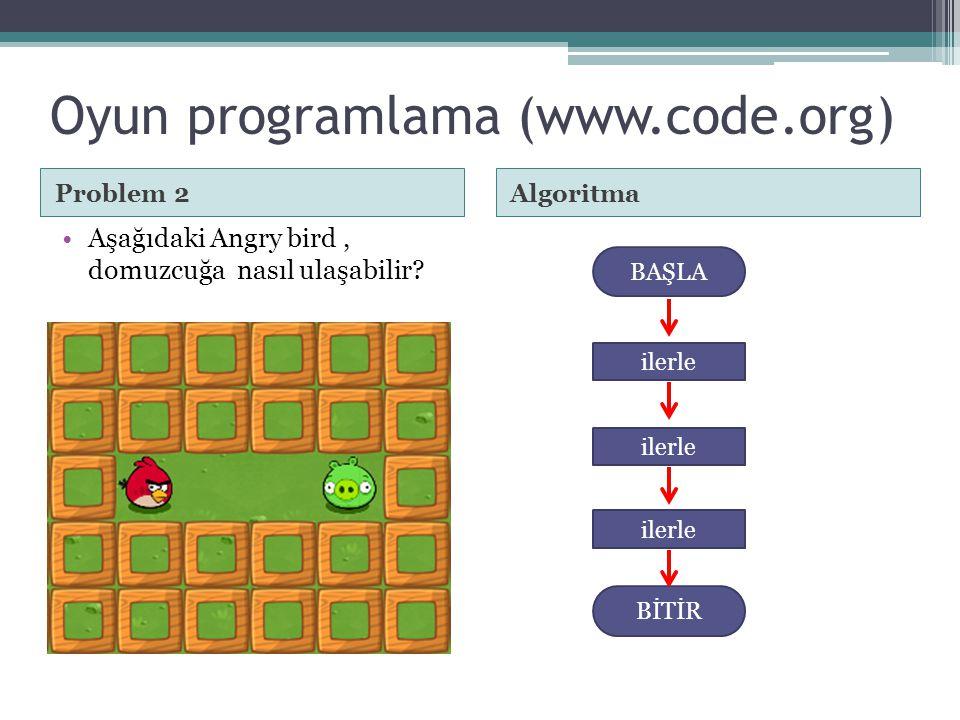 Oyun programlama (www.code.org) Problem 3Algoritma •Aşağıdaki Angry bird, domuzcuğa nasıl ulaşabilir.