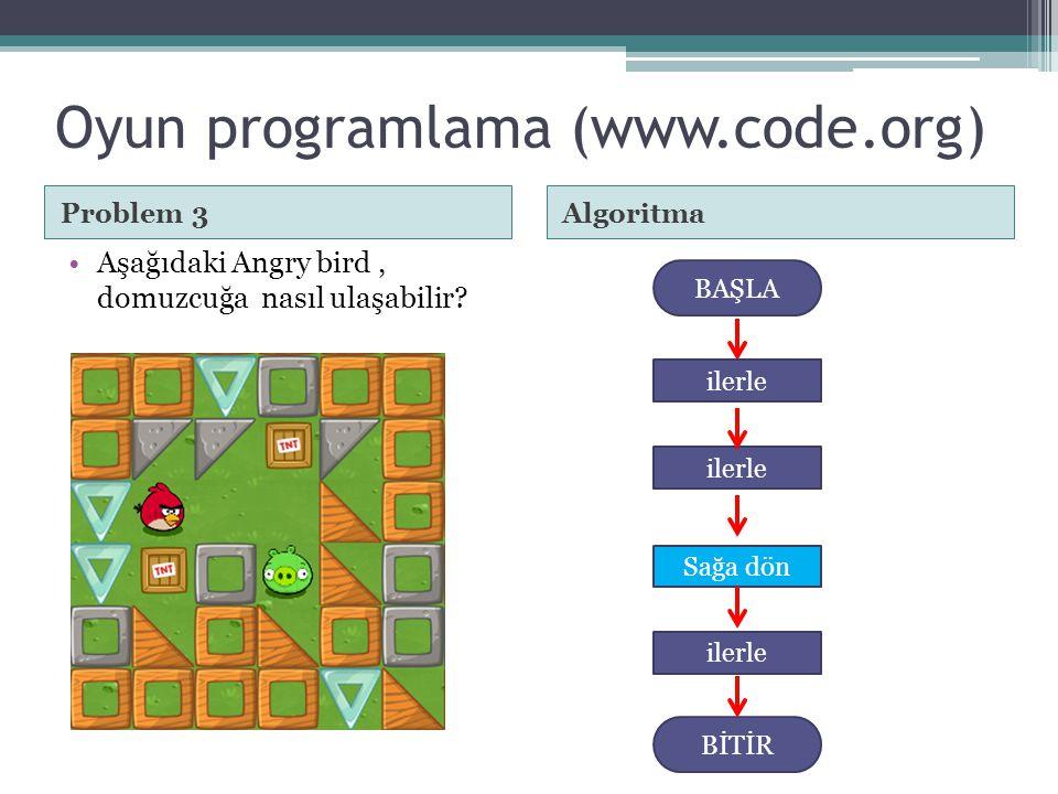 Oyun programlama (www.code.org) Problem 3Algoritma •Aşağıdaki Angry bird, domuzcuğa nasıl ulaşabilir? BAŞLA Sağa dön BİTİR ilerle