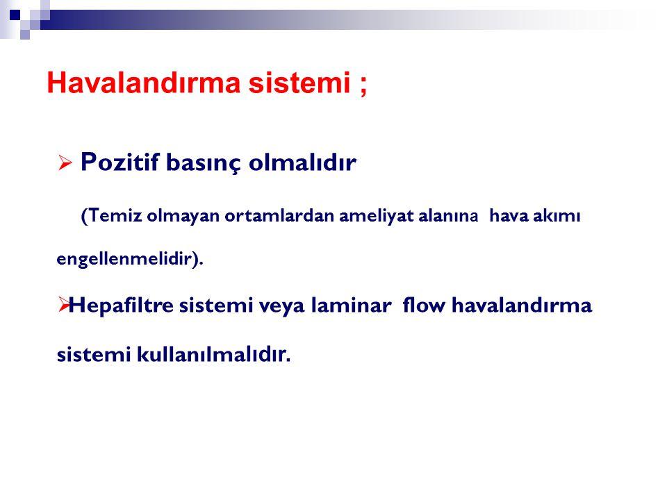  P ozitif basınç olmalıdır ( T emiz olmayan ortamlardan ameliyat alanın a hava akımı engellenmelidir).