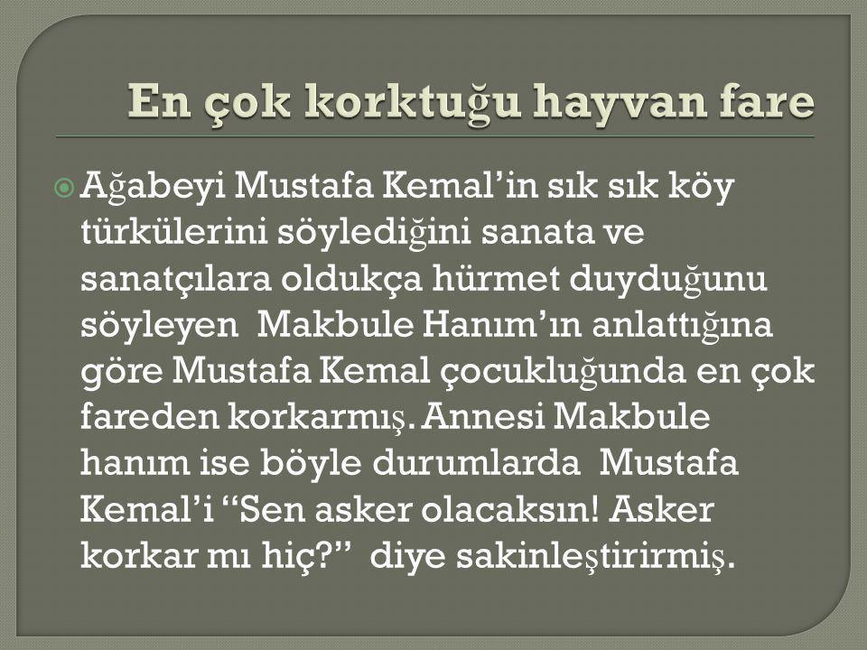  A ğ abeyi Mustafa Kemal'in sık sık köy türkülerini söyledi ğ ini sanata ve sanatçılara oldukça hürmet duydu ğ unu söyleyen Makbule Hanım'ın anlattı ğ ına göre Mustafa Kemal çocuklu ğ unda en çok fareden korkarmı ş.