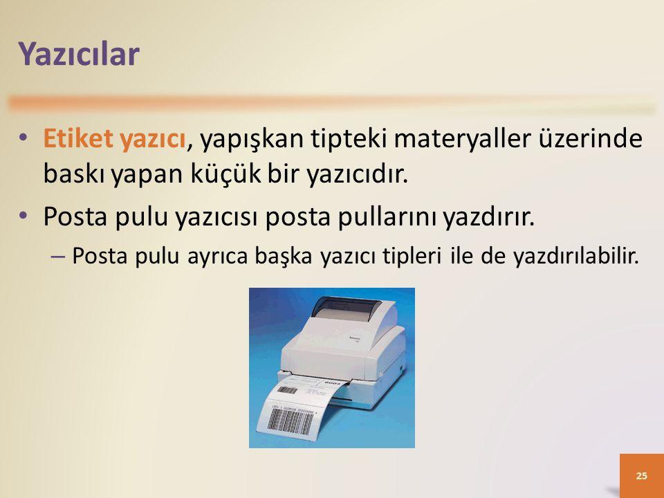 Yazıcılar • Etiket yazıcı, yapışkan tipteki materyaller üzerinde baskı yapan küçük bir yazıcıdır.
