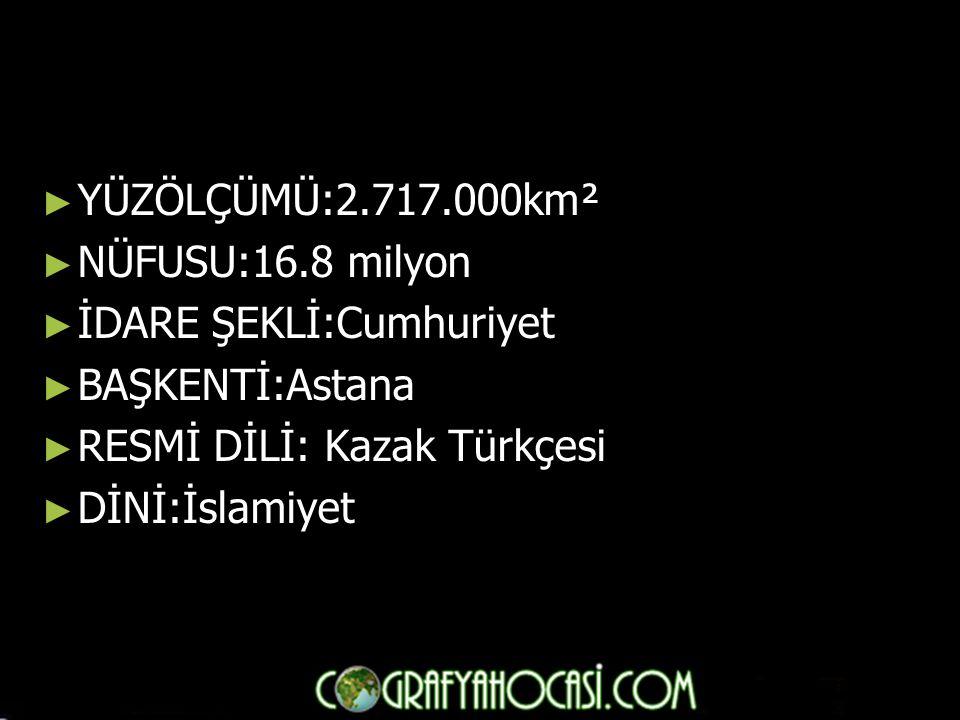 ► YÜZÖLÇÜMÜ:2.717.000km² ► NÜFUSU:16.8 milyon ► İDARE ŞEKLİ:Cumhuriyet ► BAŞKENTİ:Astana ► RESMİ DİLİ: Kazak Türkçesi ► DİNİ:İslamiyet
