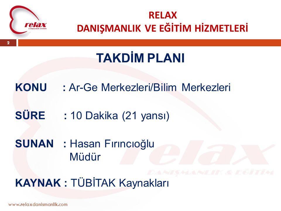 RELAX DANIŞMANLIK VE EĞİTİM HİZMETLERİ www.relaxdanismanlik.com 2 TAKDİM PLANI KONU : Ar-Ge Merkezleri/Bilim Merkezleri SÜRE : 10 Dakika (21 yansı) SUNAN : Hasan Fırıncıoğlu Müdür KAYNAK : TÜBİTAK Kaynakları